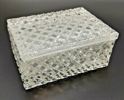 Cut Glass Trinket Box Antique Storage Jewellery With Lid In Very Good Condition • 25£