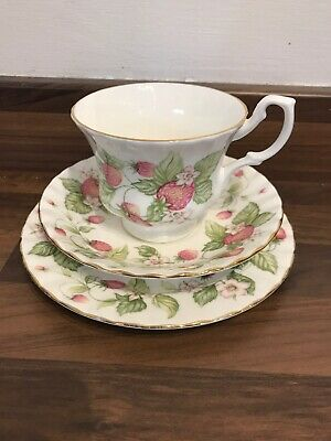Royal Albert Lyndale Strawberries Cup Saucer And Plate Trio • 10£