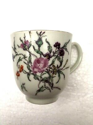 Worcester Porcelain London Giles Decorated Rare Finest Flower Example Cup C1770 • 9.99£