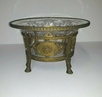 Cut Crystal Bronze Mounted Hoof Foot Bowl French Antique  • 563.96£
