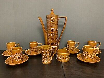 1970s Vintage Coffee Set (15 Pieces) 'Totem' Design By Portmeirion Pottery. • 20£