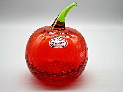 Vintage Rainbow Hand Blown Crackle Glass Red Apple Green Stem 3.75  Tall • 51.45£