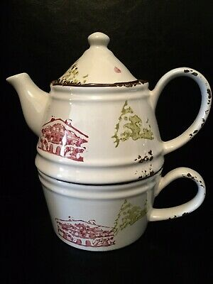 Beautiful Teacup And Teapot Tea-for-One Set, Rustic Style Ceramic • 19.95£