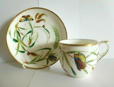 Antique Brownfields Cup And Saucer Hand Painted With Butterflies And Ladybirds • 45£