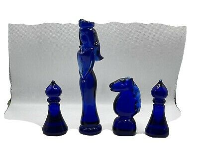 Cobalt / Bristol Blue Colour Glass Chess Pieces, Queen, Knight. Two Pawns • 16.99£