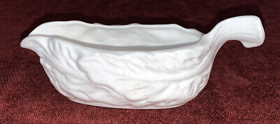 Small White Leaf Patterned Sauce Boat • 3.50£
