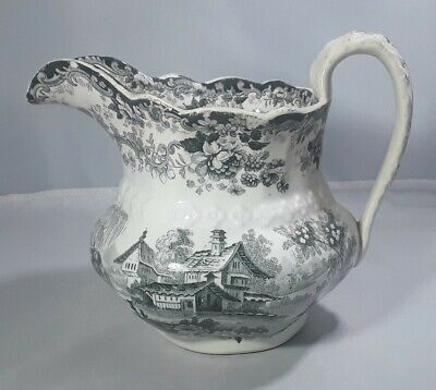 C19th Victorian Antique Black White Romantic View Pottery Jug • 22£