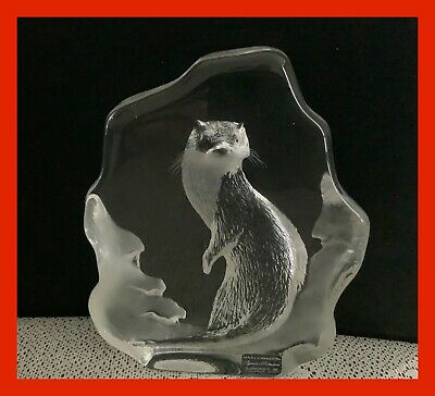 Swedish Mats Johansson Mats Jonasson Crystal Paperweight With Otter In Relief • 4.87£