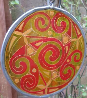 Suncatcher - Celtic Design - Spirals In Yellows, Reds And Gold Embellishments • 12£