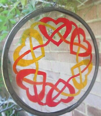 Celtic Design Suncatcher -  Hearts Entwined - Handmade And Hand Painted • 8£