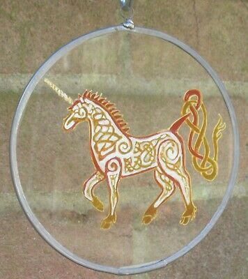 Suncatcher - Celtic Knotwork Unicorn -  Hand Made And Hand Painted • 15£