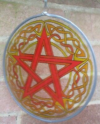 Suncatcher - Celtic Pentagram Painted In Fire Colours - Red, Oranges And Yellows • 20£