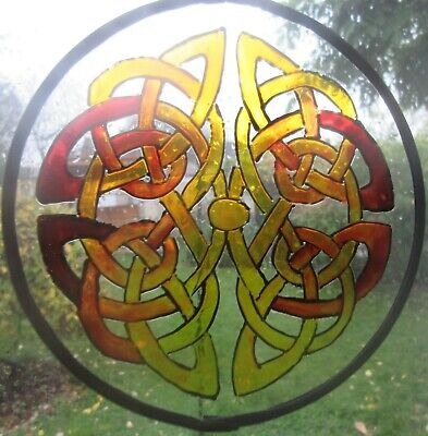 Suncatcher - Celtic Reflective Knot In Ambers - Hand Made And Painted • 15£