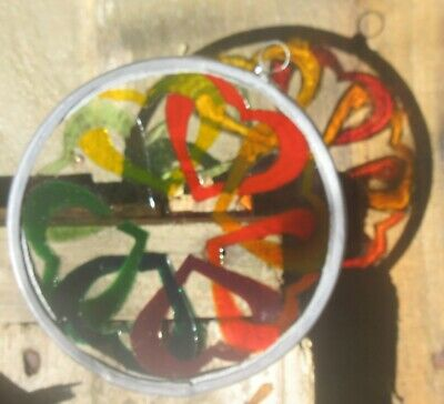 Suncatcher -  Multiple Linked Hearts  - Handmade And Hand Painted • 8£