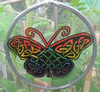 Suncatcher -  Celtic Butterfly In Rainbow Colours  - Handmade And Hand Painted • 8£