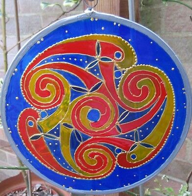 Suncatcher - Celtic Design - Spirals In Yellows, Blues And Gold Embellishments • 15£