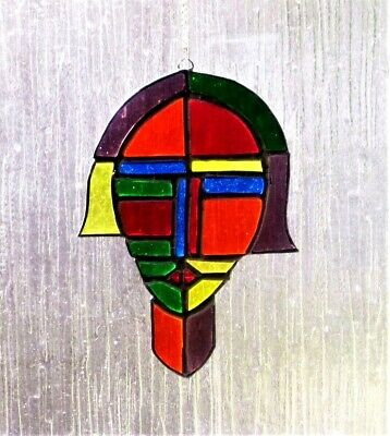 Abstract Face Stained Glass Tiffany Art Suncatcher Window Decoration • 38£