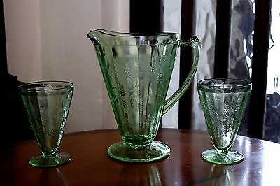 1930s Jeannette Green American Depression Glass Footed Pitcher Jug+ 2 Footed Tum • 20£