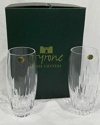 Tyrone Irish Crystal LEON Pair Of  Boxed Water Tumblers, 16cm • 39.95£