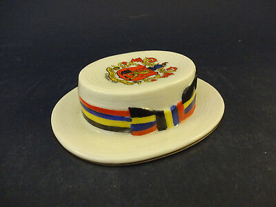 Arcadian China Model Of A Boater Hat With Carshalton Crest • 19.99£