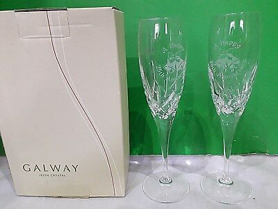 Galway Irish Crystal 'A HAPPY 25th ANNIVERSARY' Pair Champagne Flutes.22.5cm NQP • 39.95£