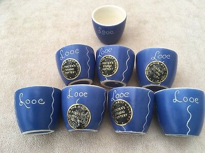 LOOE Vintage Devon Blueware Egg Cups Guest House/b&b/Holiday Home • 25£