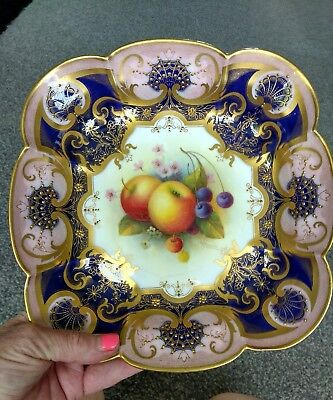 Beautiful Antique Royal Worcester Cabinet Bowl. A Shuck. Hand Painted • 195£