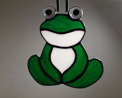 Stained Glass Suncatcher Green Frog Handmade New Tiffany Style  • 12.99£