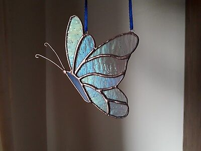 Stained Glass Butterfly Wall/Window Decoration Handmade Gift Tiffany Style • 14.99£