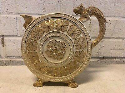 Antique English Ceramic Circular Lion Floral Decorative Creamer • 97.69£