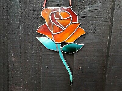 Stained Glass Red/Orange Rose Mothers Day Gift Tiffany Style • 19.99£