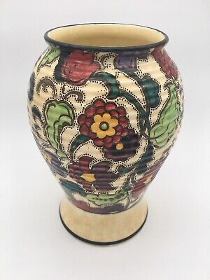 Vintage Large Art Deco Tuscan Decoro Pottery Vase Handpainted Made In England • 65£