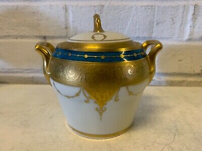 Antique Bavaria Porcelain Lidded Sugar Bowl With Blue & Gold Decorations • 58.61£