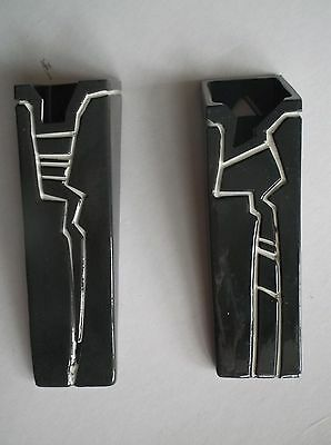 Pair Of Wallpockets By Carol Daw ?50's Black Impressed White Design Exc Con • 29£