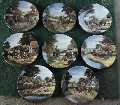 Set Of 8 Royal Doulton Wall Plates 'Harvest Home' By Peter Kotka • 45£