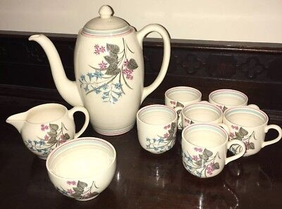 Art Deco Gray's Pottery Coffee Service For 6 Coffee Cans,coffee Pot Sugar Milk • 17.90£