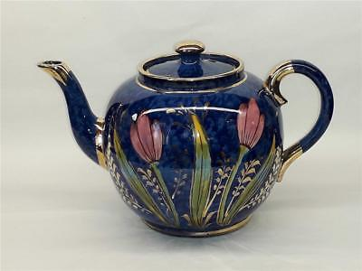 Vintage Hand Painted Blue  Teapot With  Pink Tulips  Made In England • 10.98£