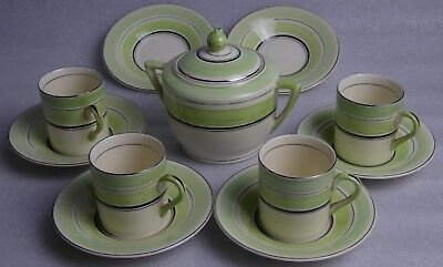 Rare Art Deco Solian Ware Four Coffee Cups, Sugar Bowl And Six Saucers  • 45£