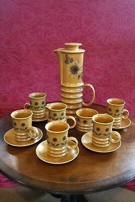 Retro 60's 70's  Carlton Ware Sunflower Design Coffee Set 13 Pieces • 35£