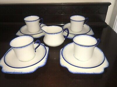 Vintage 1950s Blue Tea For Four Set Cups Milk Jar Made In England • 17.90£