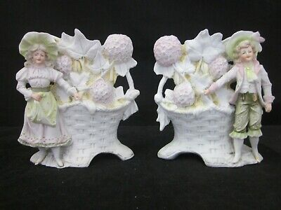 Pair Of Bisque Rococo Style Spill Vases - Quirky - Figurines  • 79.99£