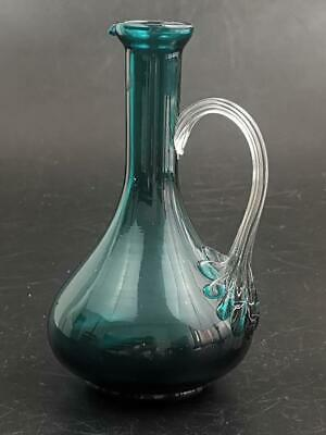 Green Glass Flagon Jug With Fluted Handle • 25£