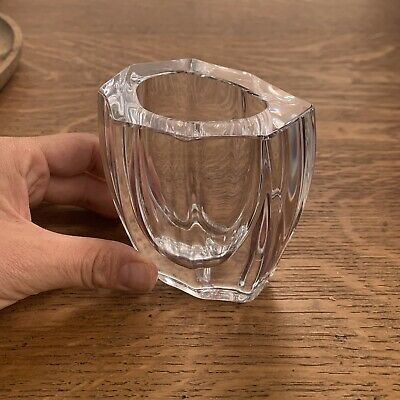 Daum Mid Century Clear Faceted Crystal Vase Sculpture Cubism *RARE *BEAUTIFUL* • 59£