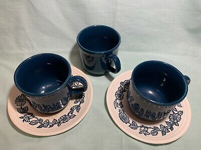 2 X Vintage Tams Cup And Saucer Retro Blue + Extra Cup • 10£