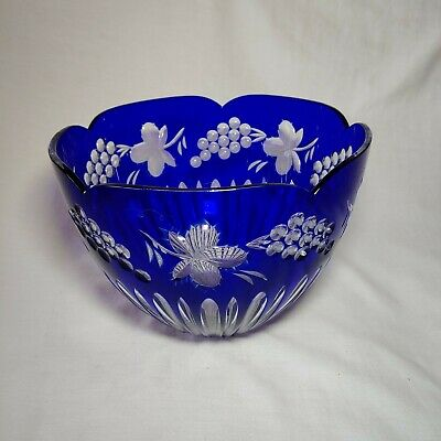 Faberge Cobalt Blue Crystal Bowl • 273.53£