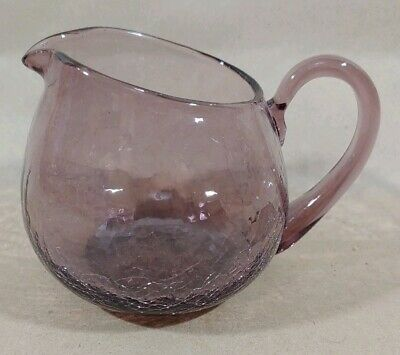 Vintage Mid Century Modern Amethyst Purple Crackle Glass Pitcher 1950's MAAU • 26.33£