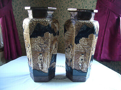 Pair Antique Vases Bretby Oriental Large Vases Henry Tooth & Co 15  Tall • 80£