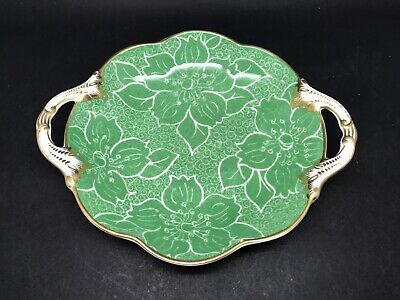 Vibrant Green 2 Handled Vintage Dish / Plate By Crescent China • 14.50£