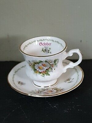 Miniature Elizabethan Staffordshire Flower Of The Month October Cup & Saucer • 7.50£