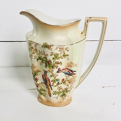 Crown Ducal Ware Birds Jug Blush Ivory NO198 • 18£